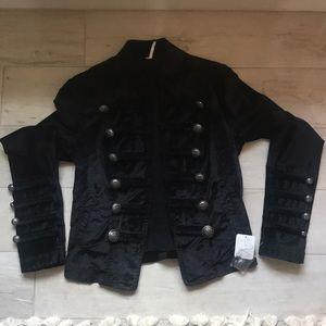 NWT XS free people black velvet band jacket